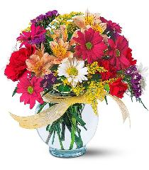 Photo of Joyful & Thrilling Vase Bright In Stock Flowers - TF121-2