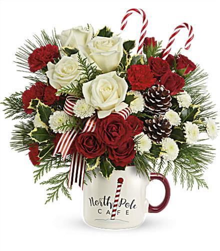 Photo of flowers: Send a Hug North Pole Cafe Mug 2020