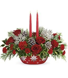 Photo of flowers: Halls Of Holly Centerpiece T18X100