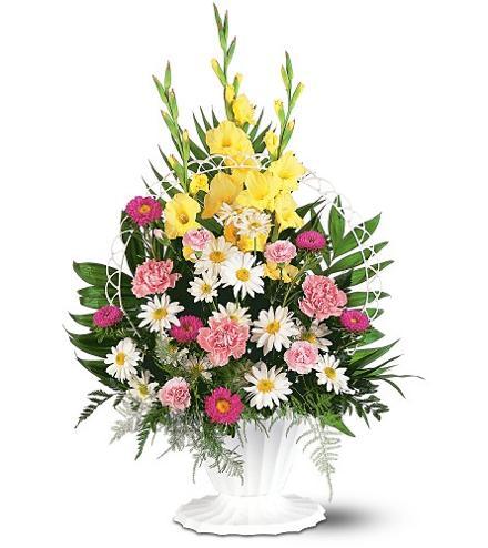 Photo of flowers: Basket of Faith Sympathy Flowers