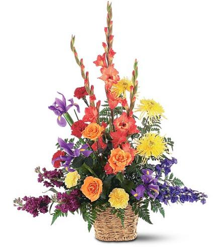 Photo of flowers: Rainbowt Flowers Basket Arrangement