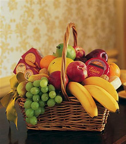 Photo of flowers: Fruit and Gift Basket Bananas Apples,Green Grapes