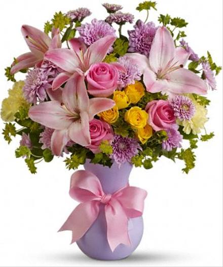 Photo of flowers: Perfectly Pastel with Pink Roses Vased