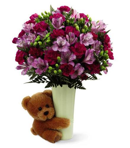 Photo of flowers: New Big Hug  Vase and Teddy Bear