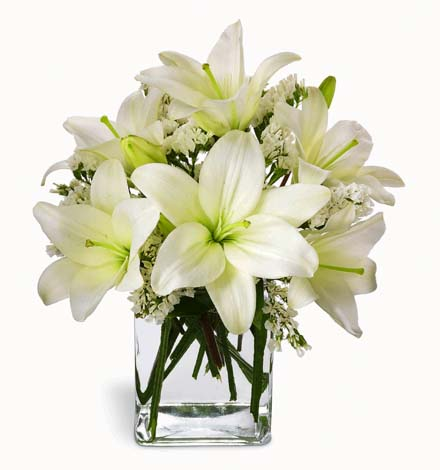 Photo of flowers: Thoughtful Lily Bouquet in Cube Vase