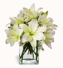 Photo of Thoughtful Lily Bouquet in Cube Vase - B2-4100