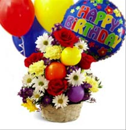 Photo of flowers: Flower Basket of Birthday Cheer