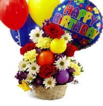 Photo of flowers: Flower Basket of Birthday Cheer
