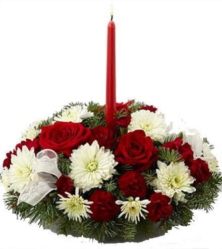 Photo of flowers: Holiday Centerpiece Roses Carnations Mums