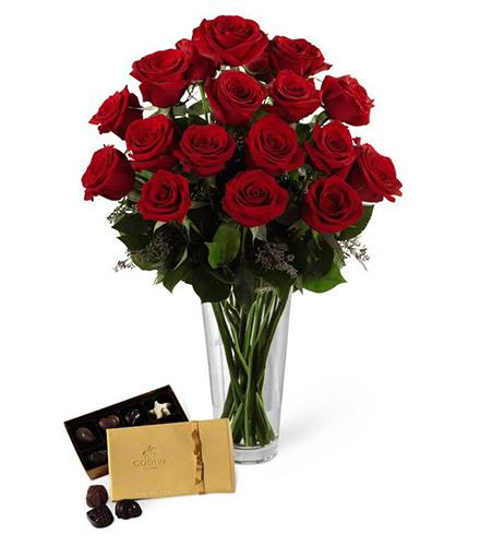 Photo of flowers: Red Rose & Chocolate Bouquet