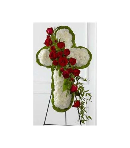 Photo of flowers: The Floral Cross on Easel Wire Stand