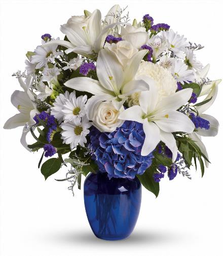 Photo of flowers: Beautiful in Blue Vased