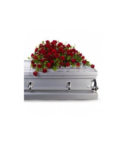 Photo of flowers: Red Rose Reverence Casket Spray