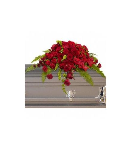 Photo of flowers: Red Rose Sanctuary Casket Spray