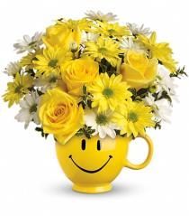 Photo of flowers: Be Happy Smile Mug - Re-usable Keepsake