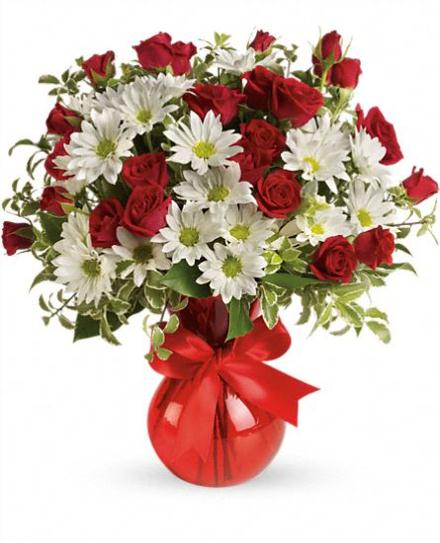 Photo of flowers: Red White And You Bouquet in Vase