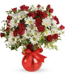 Photo of Red White And You Bouquet in Vase  - TEV23-2