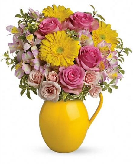 Photo of flowers: Teleflora's Sunny Day Pitcher Of Charm