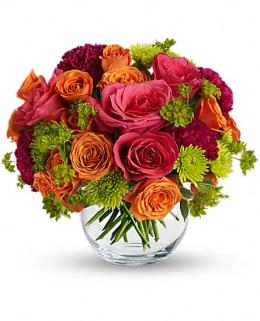 Photo of flowers: Smile for Me Roses in Glass Bowl