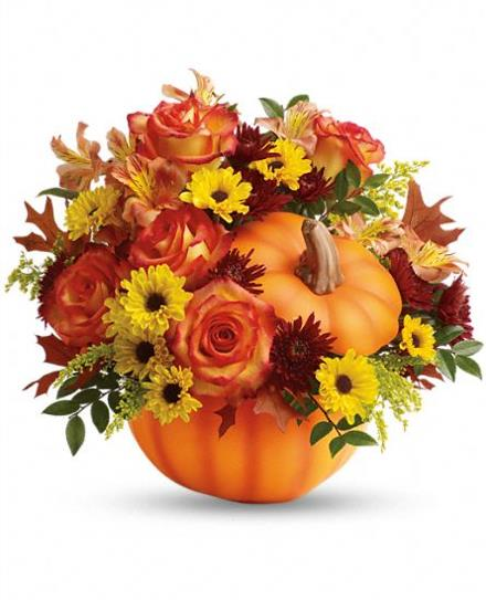 Photo of flowers: Warm Fall Wishes Pumpkin