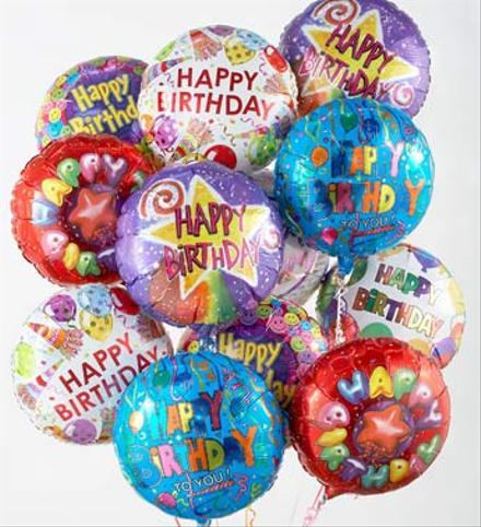 Photo of flowers: Helium All Mylar Birthday Balloons