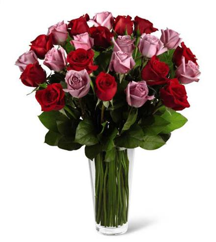 Photo of flowers: The FTD Red and Lavender Rose Bouquet