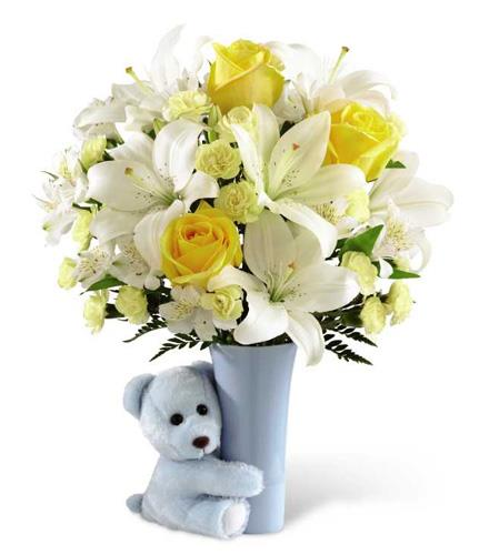 Photo of flowers: Blue Big Hug with Vase and Teddy Bear