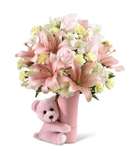 Photo of flowers: Big Hug with Vase and Teddy Bear