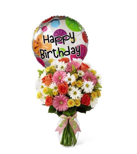 Photo of flowers: Birthday Cheer Vase Balloon Bouquet