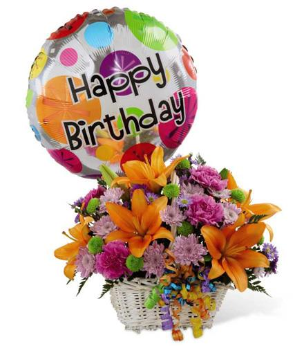 Photo of flowers: Happy Birthday Flowers and Balloon Basket