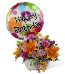 Photo of Happy Birthday Flowers and Balloon Basket  - D5-4894