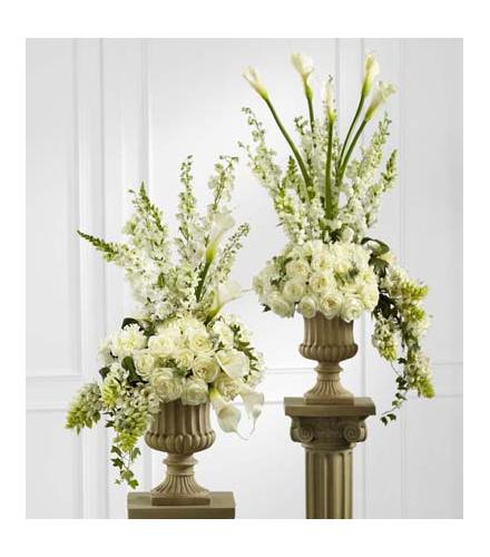 Photo of flowers: Classic White Arrangement Pair of Two