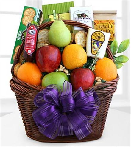 Photo of flowers: Fruitful Greetings Gourmet Gift Basket