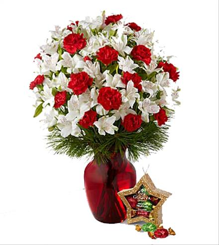 Photo of flowers: Gorgeous Greetings Holiday Bouquet with Godiva's Truffles