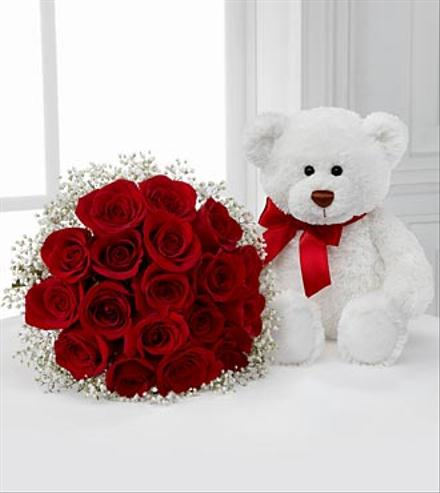 Photo of flowers: Meant to Be Rose Bouquet & Teddy Bear