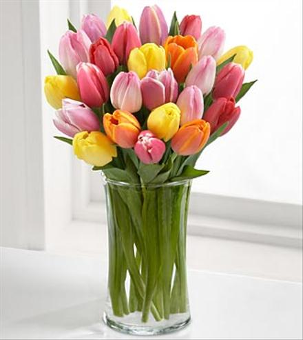 Photo of flowers: Rush of Color Assorted Tulips Vased