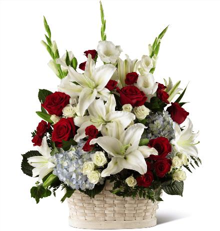 Photo of flowers: Greater Glory Sympathy Basket