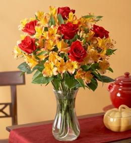 Photo of Roses and Alstromeria in Vase - 800RA