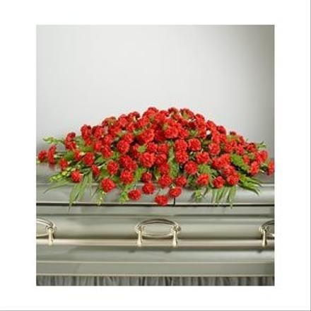 Photo of flowers: Casket Spray Closed Red Carnations