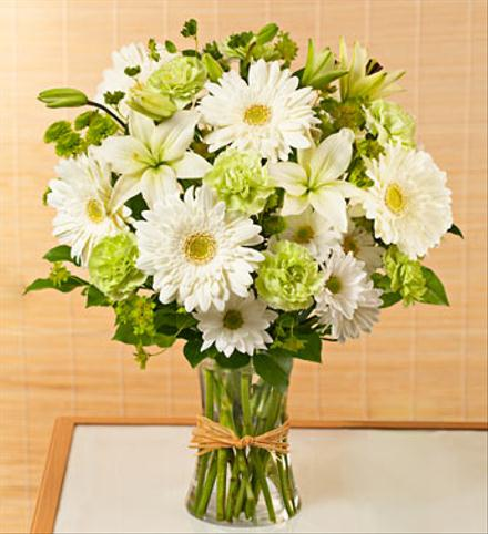 Photo of flowers: Serene White & Green Vase Design