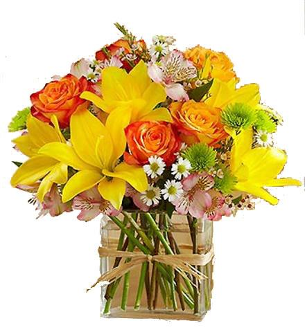 Photo of flowers: Bright and Cheery Floral Burst Vase