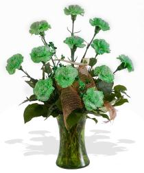 Photo of Green Carnations Vased  - GREENCARN