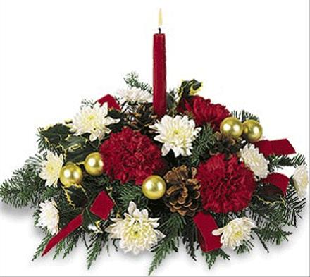 Photo of flowers: Christmas Centerpiece with Candle