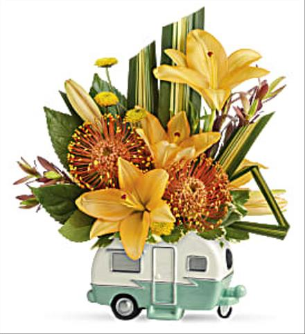 Photo of flowers: Vintage Vacationer Trailer