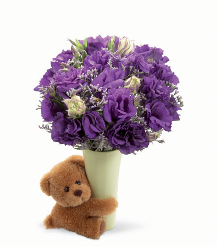 Photo of flowers: Big Hug Vase & Teddy Bear