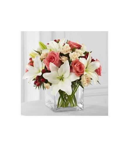 Photo of flowers: Blushing Beauty Glass Cube