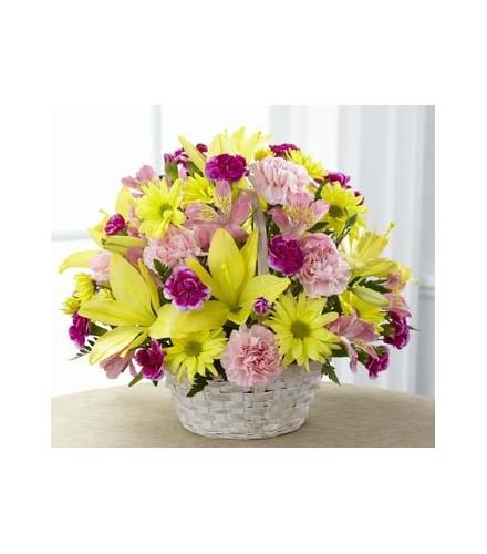 Photo of flowers: The FTD Basket of Cheer Bouquet