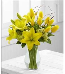 Photo of flowers: Your Day Yellow Tulips and Lilies in Vase