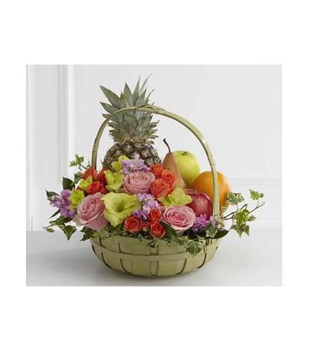 Photo of flowers: The FTD Rest in Peace Fruit & Flowers Basket