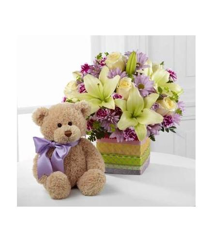Photo of flowers: The FTD Welcome Bear Bouquet